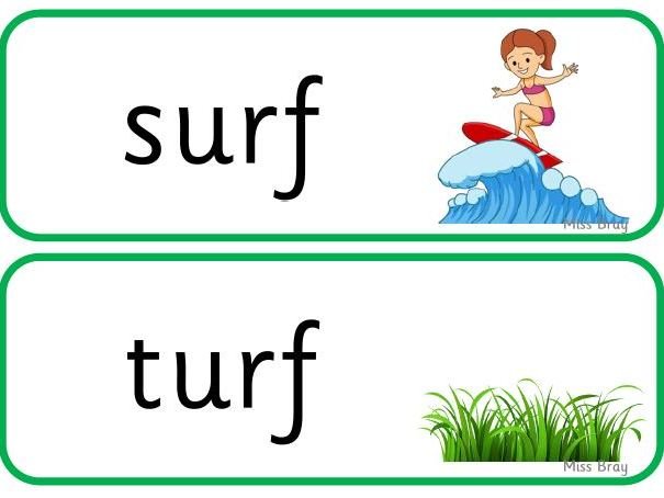 'ur' word cards - Phase 3 Phonics