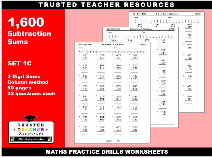 1600 Subtraction Sums- 3 Digit Sums (SET 1-C)