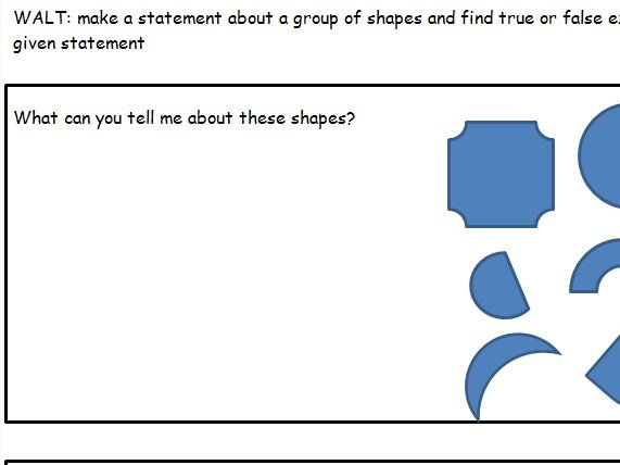 Making and proving statements using shapes and properties of shapes