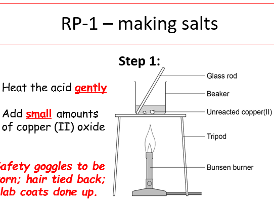 KS4, Chemical changes: Chemistry Required Practical 1 - making a salt (teacher ppt & student w/s)