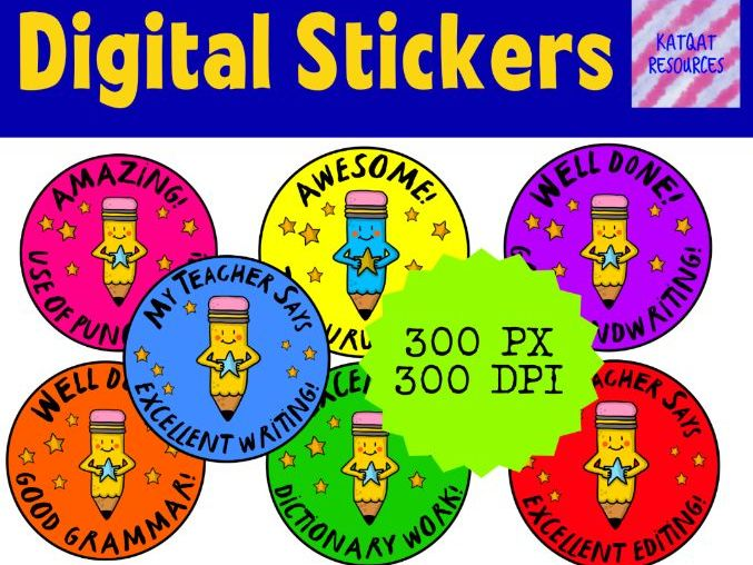 Digital Reward Virtual Teacher Stickers Sun - Writing - Pencil Theme