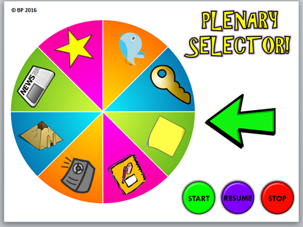 "Plenary Generator - Plenary Wheel - Students shout ""STOP"" to choose lesson plenary! (Wheel SPINS!)"