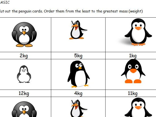 Greater than Less than Maths penguin Mass game KS1
