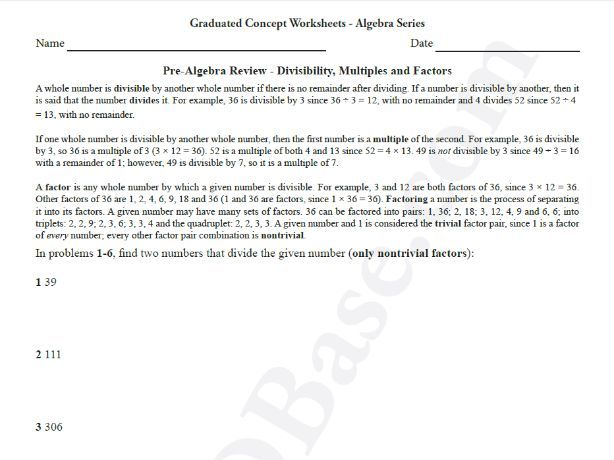 Basic Algebra Worksheet 1 – Pre-Algebra Review - Divisibility, Multiples and Factors