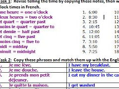 French worksheet about daily routine including time