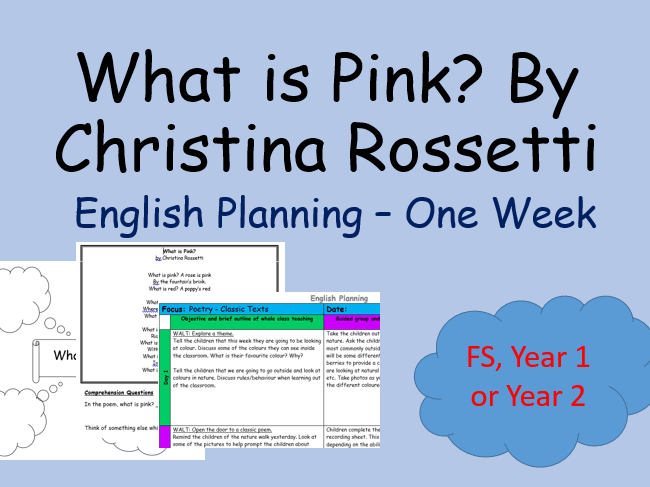 What is Pink? Classic Poetry English Planning Christina Rossetti