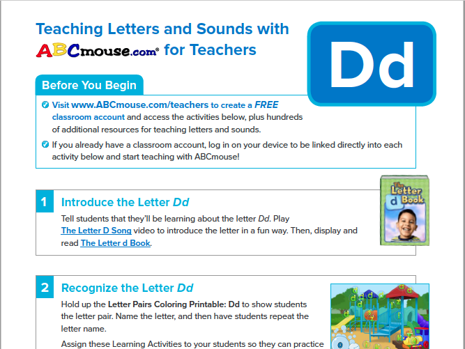 Teaching Letters and Sounds with ABCmouse.com for Teachers: Dd