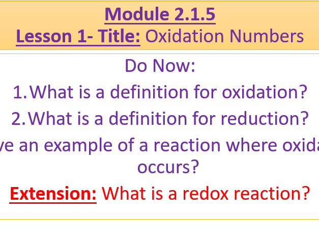 A Level Chemistry OCR A Module 2.1.5 Lesson 1- Oxidation Numbers
