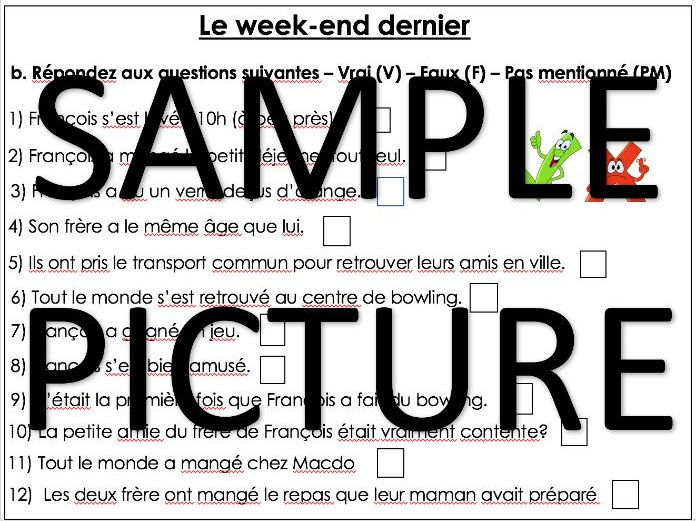 GCSE French - Free time-  Le week-end dernier worksheet - Last weekend