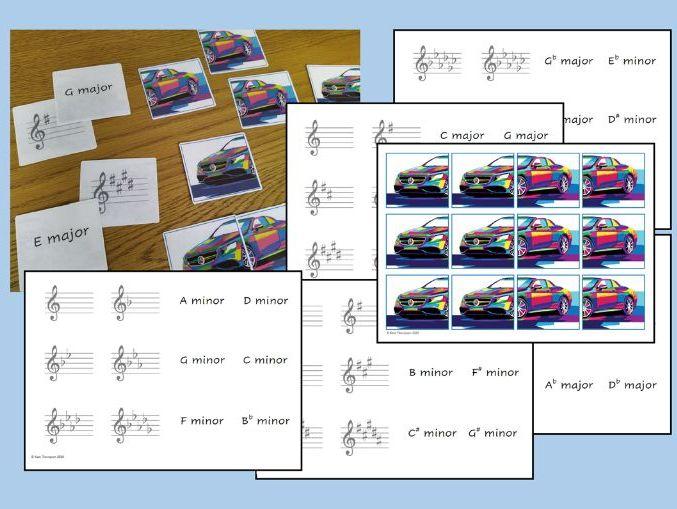 Music - 26 Key Signature Flash Cards Matching Pairs Game