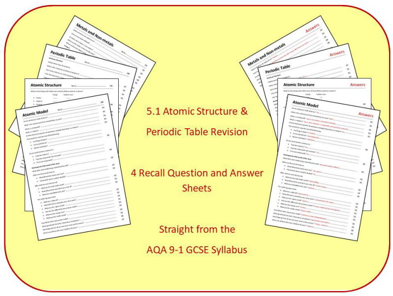 Topic 1: Atomic Structure & Periodic Table Revision Question and Answer Sheets