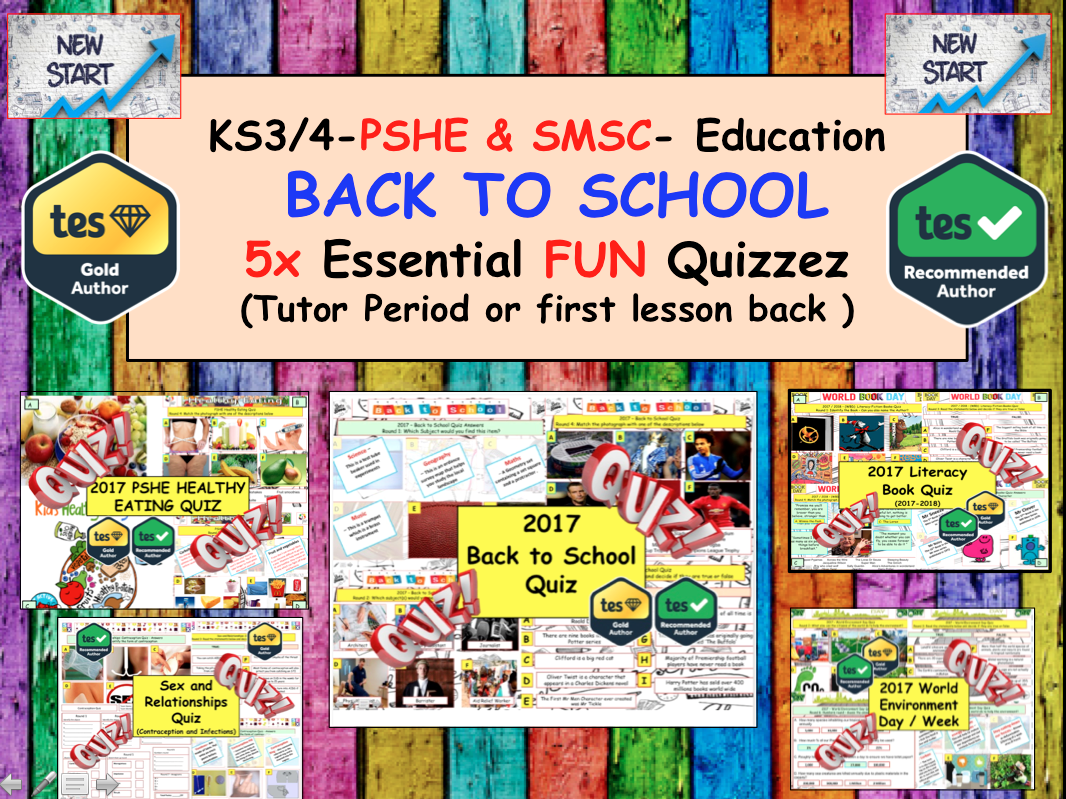 5x Educational PSHE SMSC Quizzes Back to School Quiz Bundle - Tutor time: Transition / SRE / Healthy Eating / Literacy / Environment
