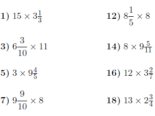 Multiplying mixed numbers and whole numbers worksheet (with solutions)
