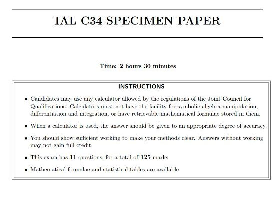 IAL C34 Specimen Paper - without space