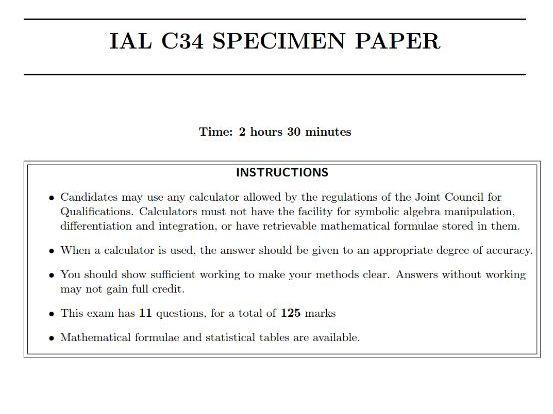 IAL C34 Specimen Paper - without space