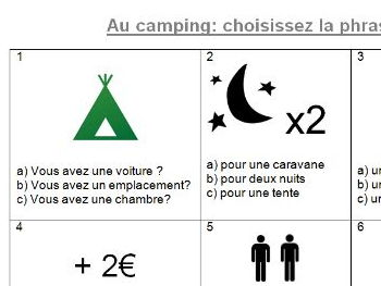Camping multi-choice quiz in French