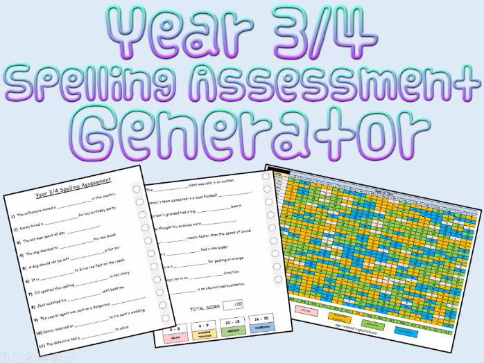 Year 3 and 4: Spelling Assessments and Tracking (Generator)