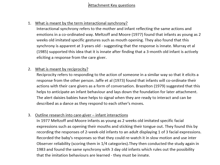 AQA PSYCHOLOGY ATTACHMENT - EVERY POSSIBLE EXAM Q AND ANSWER