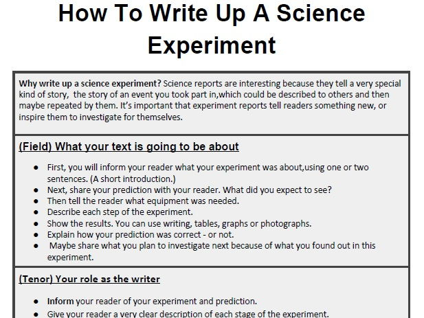 Genre-Booklet: How To Write Up A Science Experiment