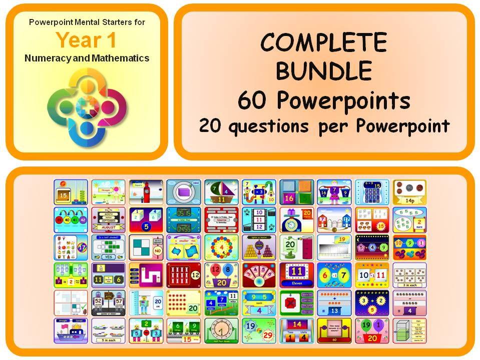 KS1 Year 1 Maths Powerpoint Mental Starters BUNDLE