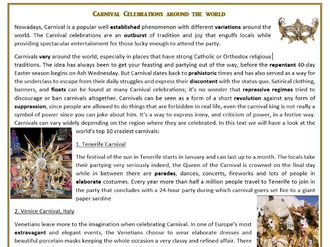 Carnival Celebrations Around the World - Reading Comprehension ...
