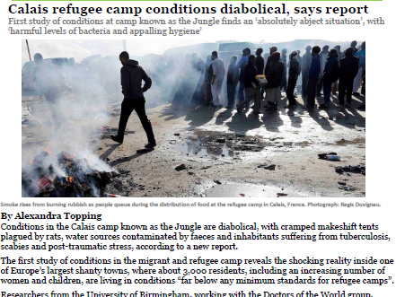 Calais refugee camp Guardian newspaper report comprehension KS2