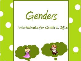 Genders - Worksheets for Grades 1, 2 and 3
