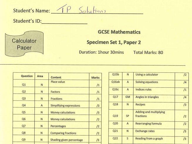 9-1 GCSE Maths Specimen Paper SOLUTIONS with Question Categories Cover Sheet (Edexcel)