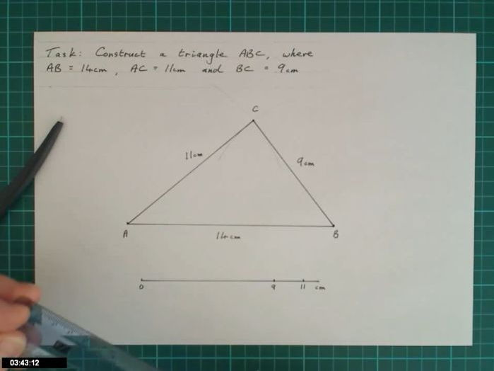 Video describing how to construct a triangle given SSS.