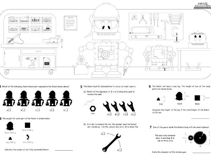 Robot Repair (Maths) A3 Worksheet