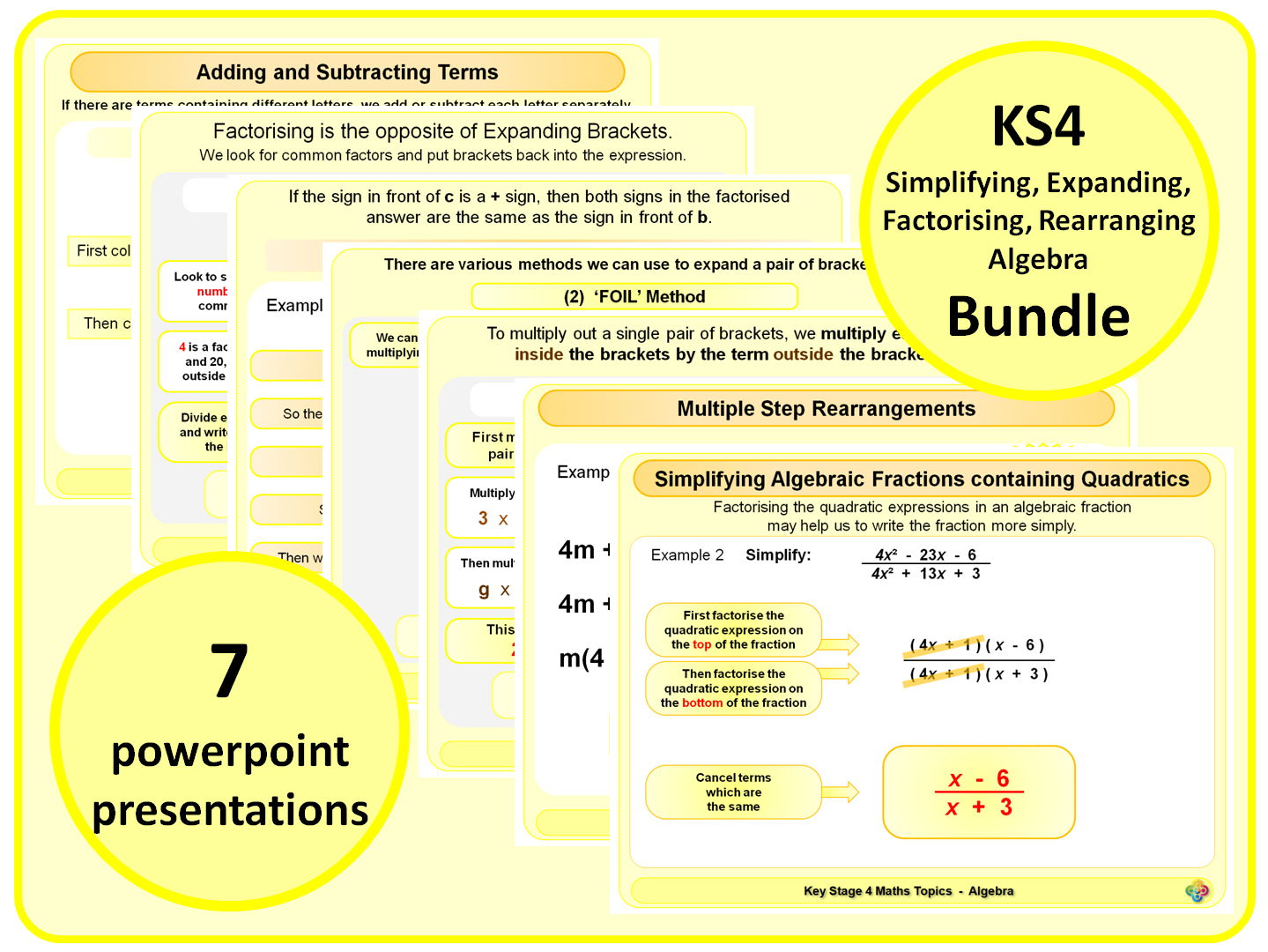 KS4 Simplifying, Expanding, Factorising, Rearranging Algebra BUNDLE