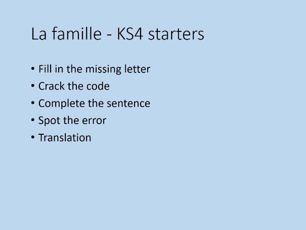 La Famille - KS4 Lesson Starters