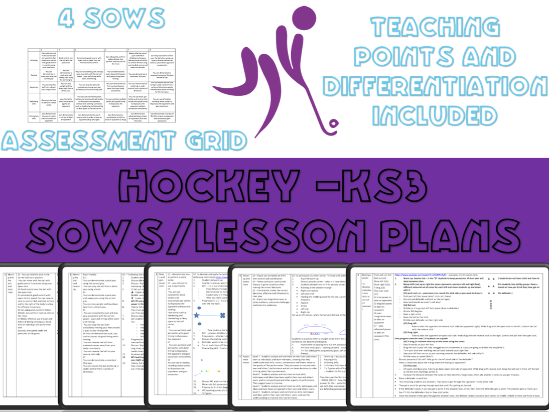 Hockey Lesson plans/ Schemes of work for KS3