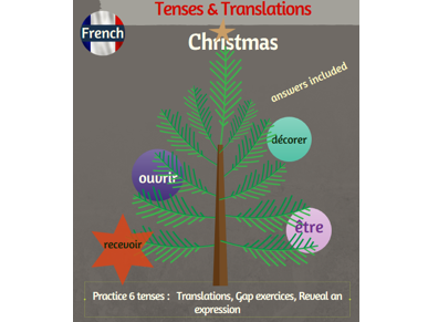 Tenses & Translations practice in French with Christmas topic