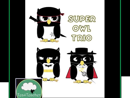 Owl Clipart SuperOwls Ninja Batman Zorro Cute Clip Art