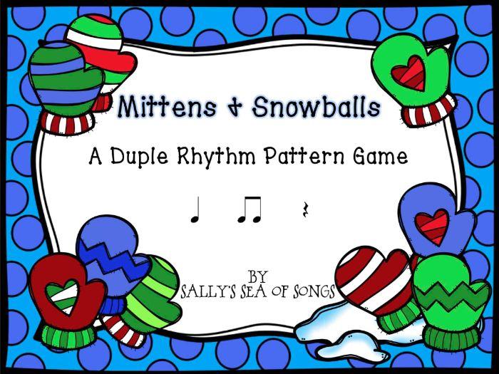 Mittens & Snowballs Duple Rhythm Patterns Koosh Ball Game Level 1