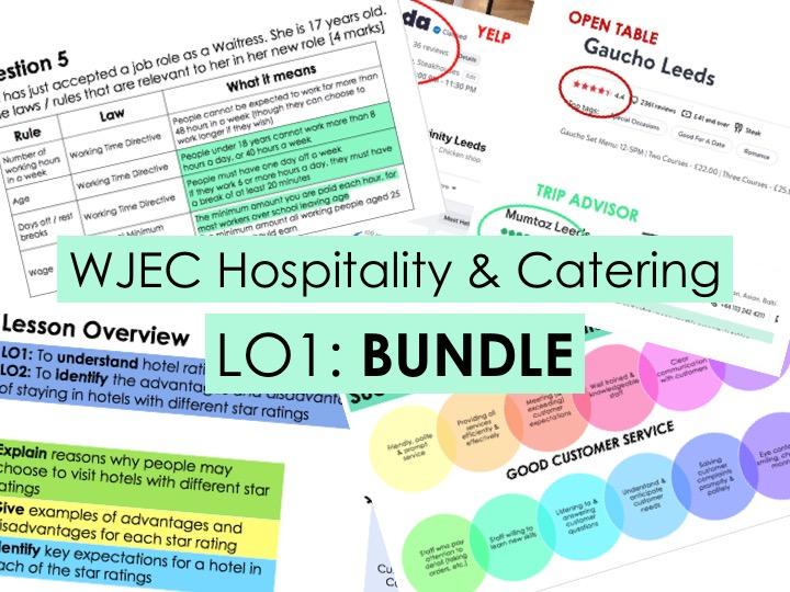 KS4 WJEC Hospitality Unit 01 LO1 - FULL BUNDLE