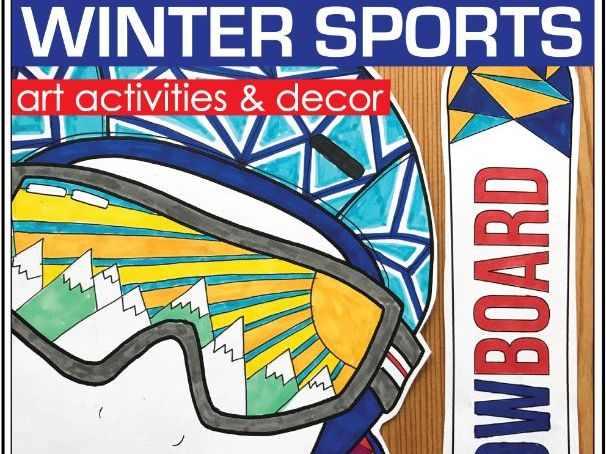 Winter Sports colouring pages, fun art activities