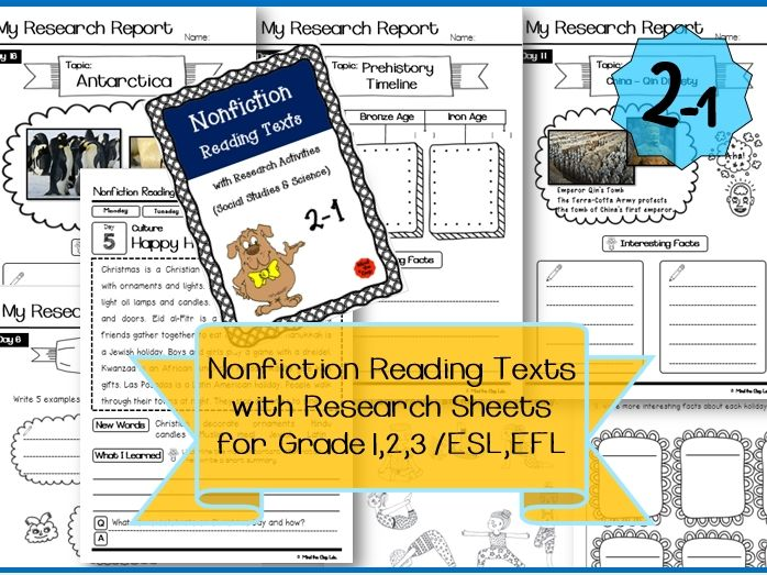 Nonfiction Reading Texts with Research Sheets 2-1 ( Science & History )