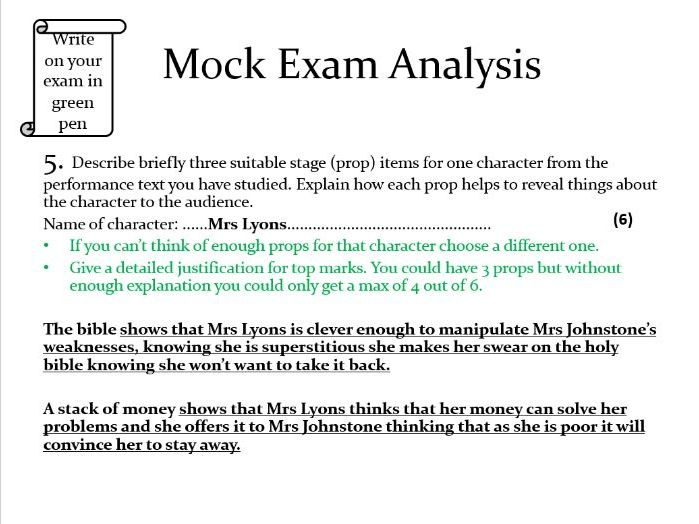 OCR Drama mock exam analysis