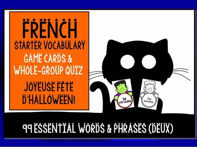 FRENCH VOCABULARY HALLOWEEN GAMES & QUIZ #2