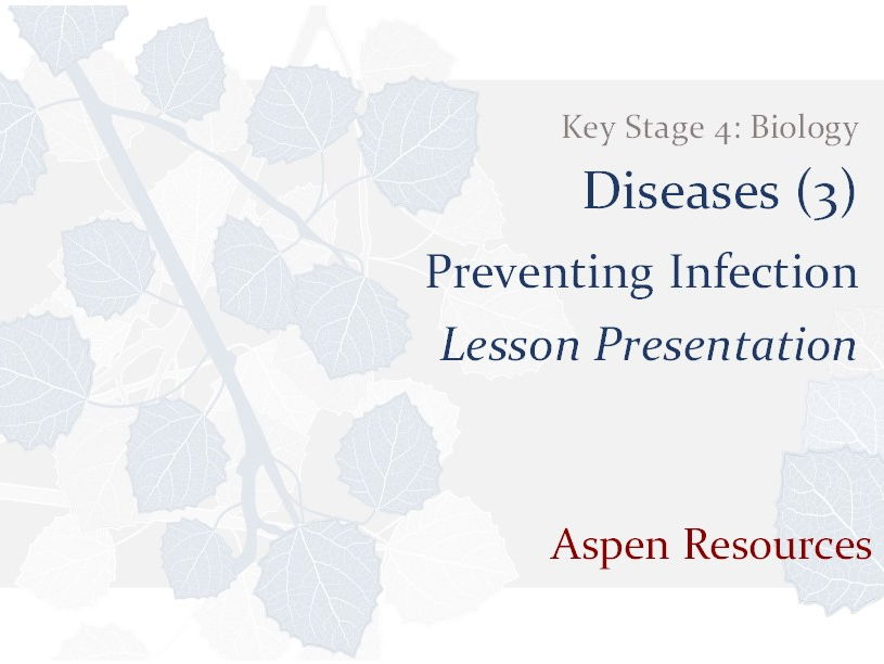 Preventing Infection  ¦  Key Stage 4  ¦  Biology  ¦  Diseases (3)  ¦  Lesson Presentation
