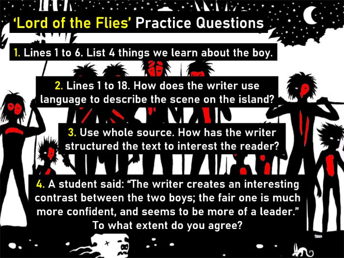 'Lord of the Flies' English Language Paper 1 (AQA style) GCSE practice