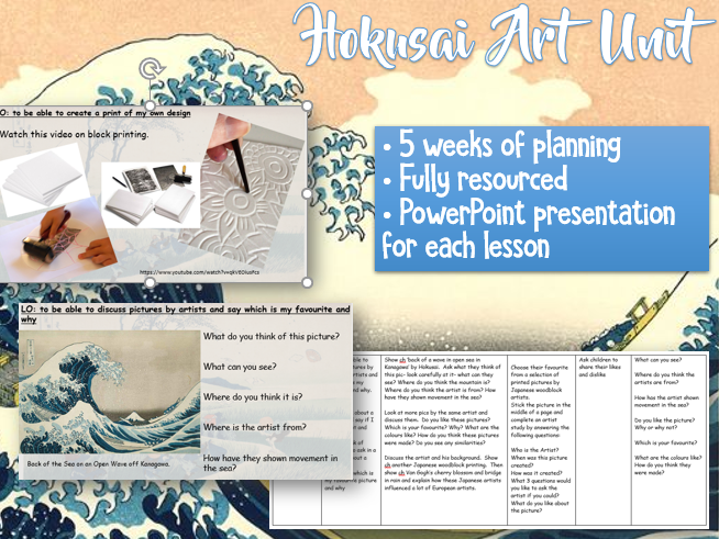 KS2 HOKUSAI Art Unit - 5 weeks planning and resources