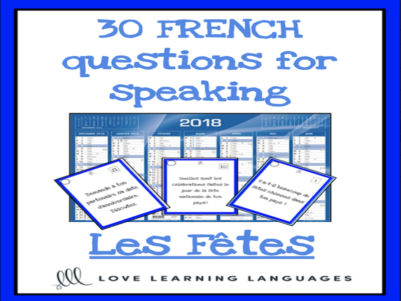 Fêtes, jours fériés, anniversaires - 30 French speaking prompt question cards
