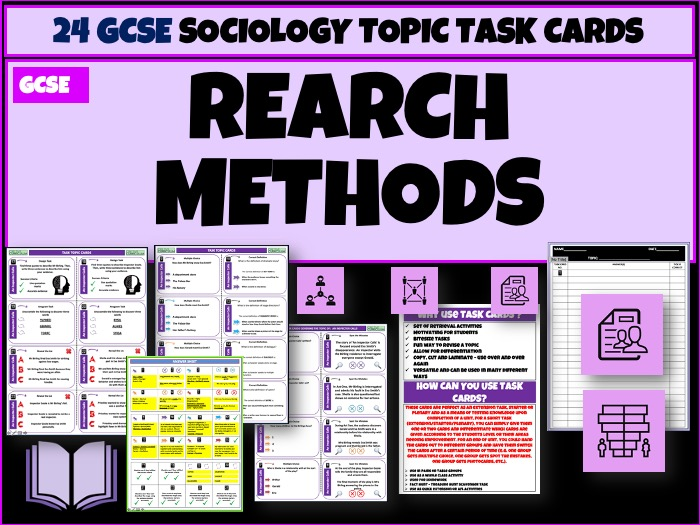 Research Methods Sociology Task Cards