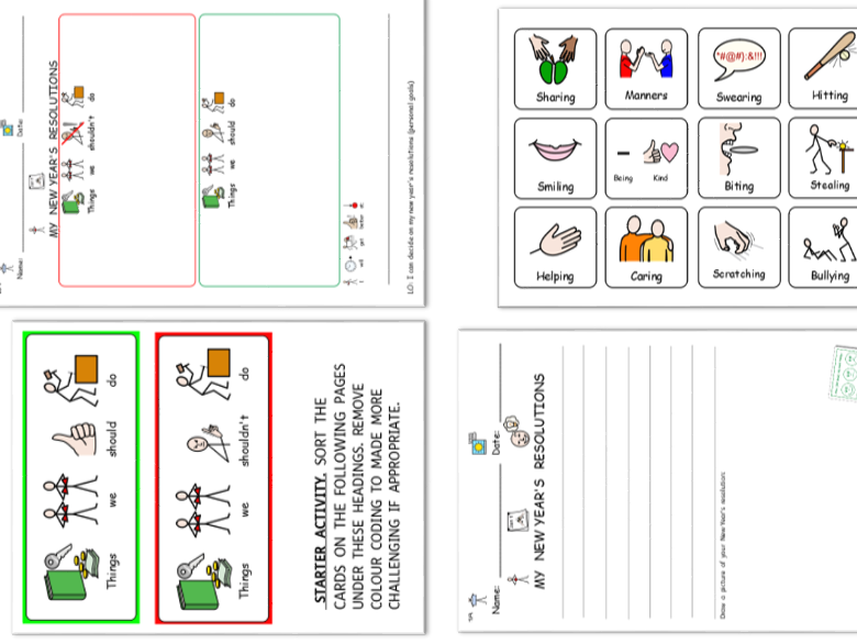 SEND new years resolutions. Symbolised worksheets and starter. Differentiated