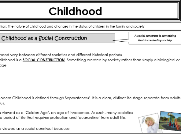 AQA Sociology - Year 1 -Families & Households - Childhood