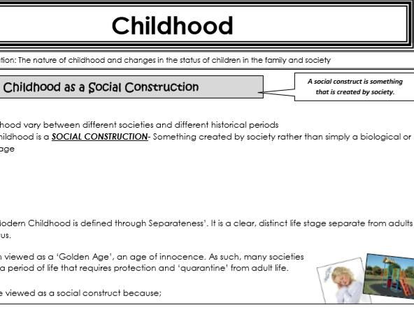 AQA Sociology - Year 1 -Families & Households - Childhood