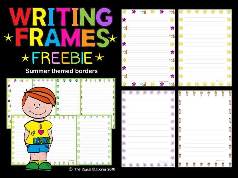 Writing Frames (Summer Themed Borders) FREEBIE - 35 printables